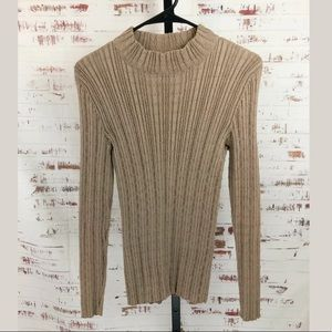Peruvian Connection Textured Mock Neck Sweater Tan